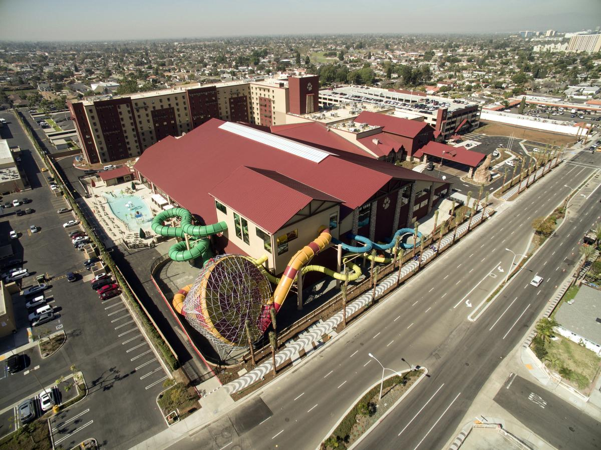 Great Wolf Lodge on Harbor Boulevard in Garden Grove. The 603-suite hotel and 105,000-square-foot water park is scheduled to open on February 19. ///ADDITIONAL INFORMATION: Slug: GreatWolfLodge.xxxx.jag, Day: Thursday, February 11, 2016 (2/11/16), Time: 12:14:16 PM, Location: Garden Grove, California - Great Wolf Lodge - JEFF GRITCHEN, STAFF PHOTOGRAPHER