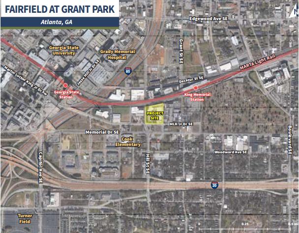 Fairfield at Grant Park tọa lạc trên Martin Luther King Jr. Drive và Hill Street, thuộc hành lang Memorial Drive tại thành phố Atlanta