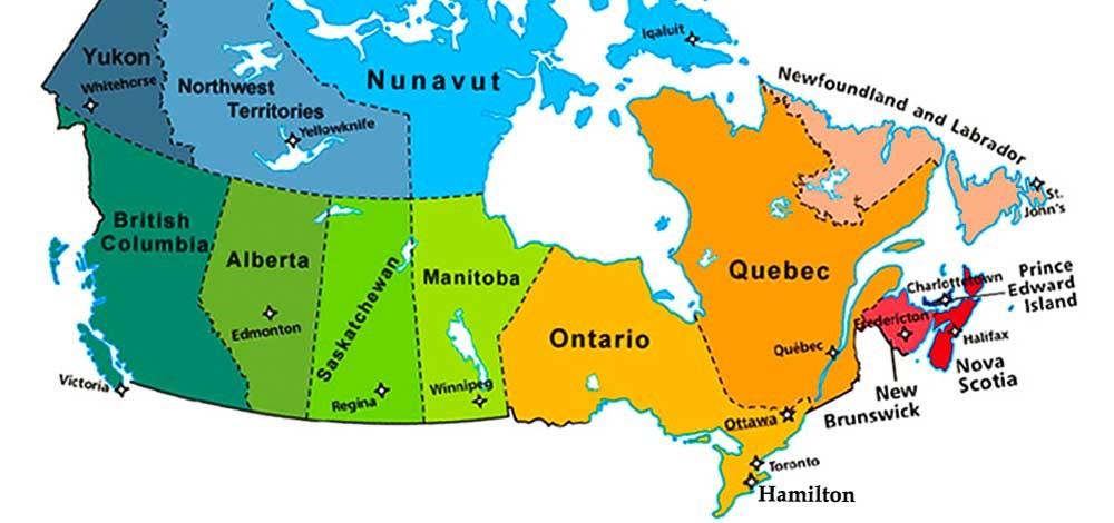 Khu vực các bang được thực hiện chương trình định cư Canada