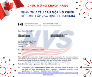 Thư yêu cầu nộp hộ chiếu xin visa Canada