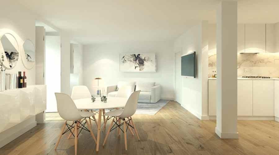 Một căn hộ khác có bếp và phòng khách thoáng rộng hơn