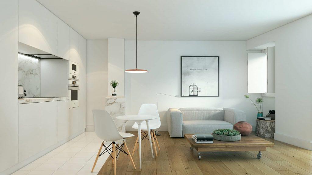 Phối cảnh phòng khách và bếp cho căn hộ nhỏ