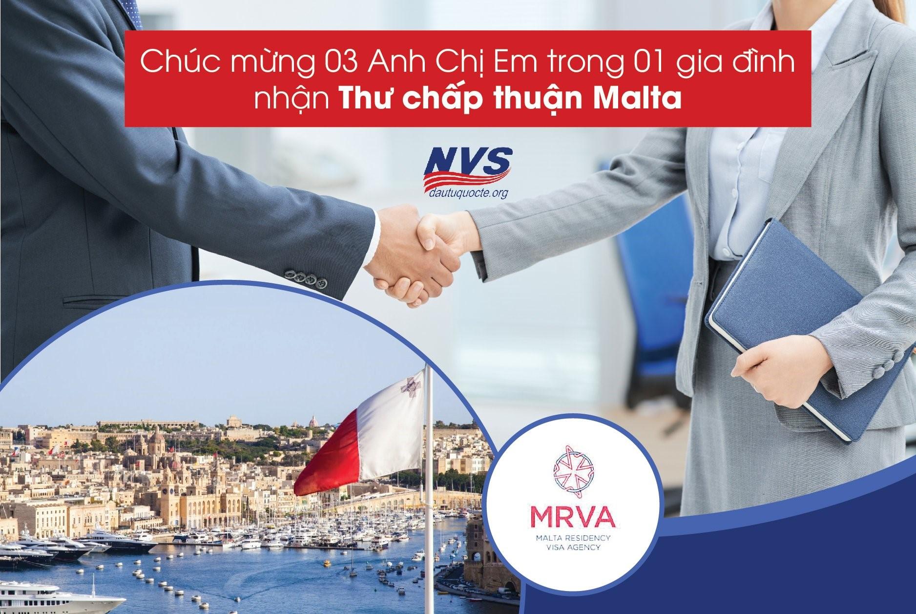NVS chúc mừng 3 anh em trong gia đình nhận được thư chấp thuận đầu tư định cư Malta