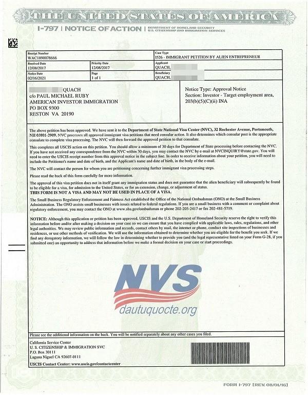Đơn I-526 của khách hàng Quách T.P mới được phê duyệt trong tháng 02/2021