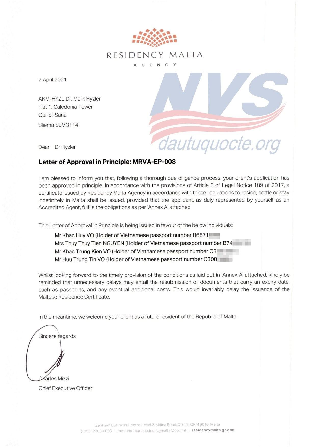 thư chấp thuận đầu tư Malta của anh Võ Khắc Huy, khách hàng NVS