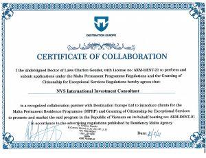 chứng nhận đối tác luật sư Malta